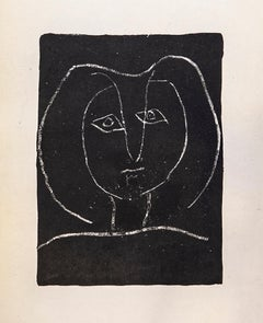 Tete de Femme Stylisee Fond Noir, Limited edition Lithograph by Pablo Picasso