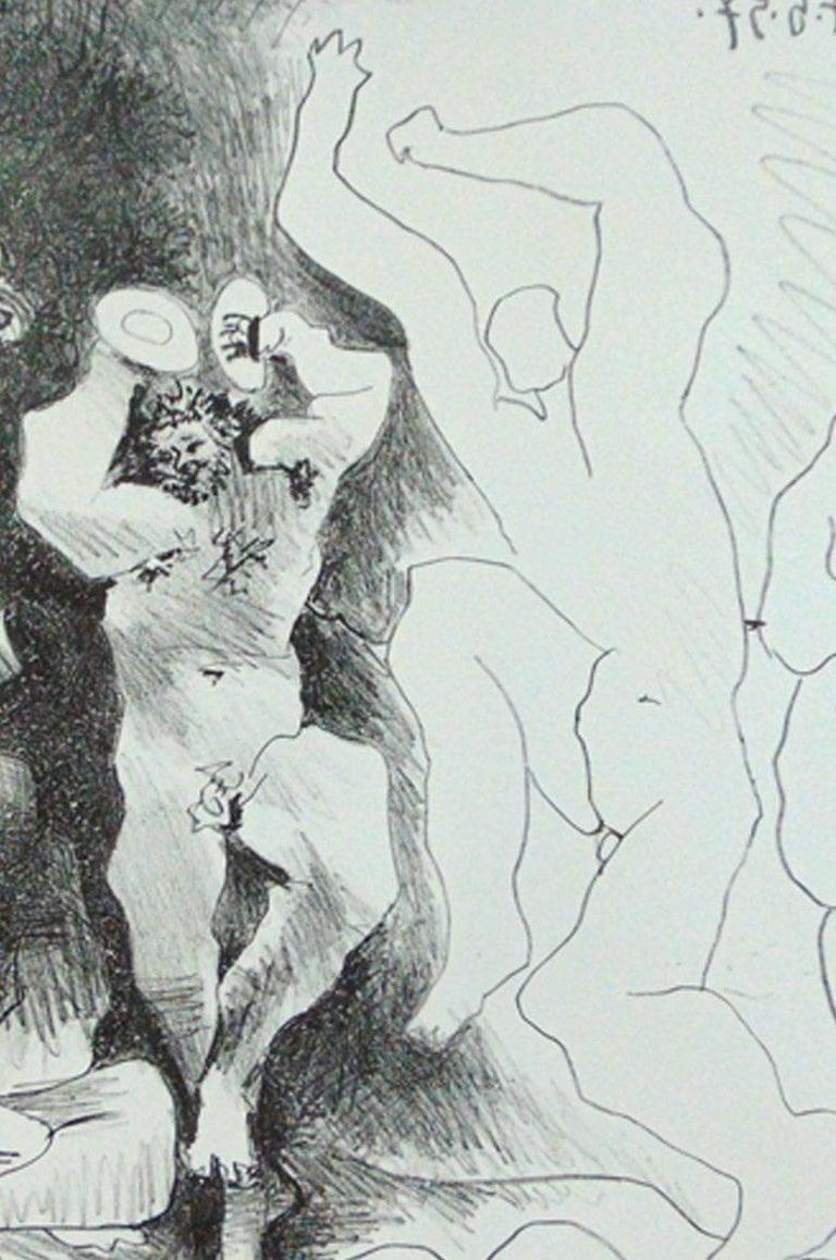 The Dance of the Fauns  La Danse des Faunes - Roman Mythology Celebration  - Gray Figurative Print by Pablo Picasso