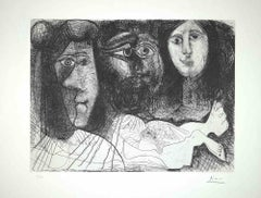 Autoportrait, avec deux femmes, from The Fall of Icarus by Pablo Picasso - 1972
