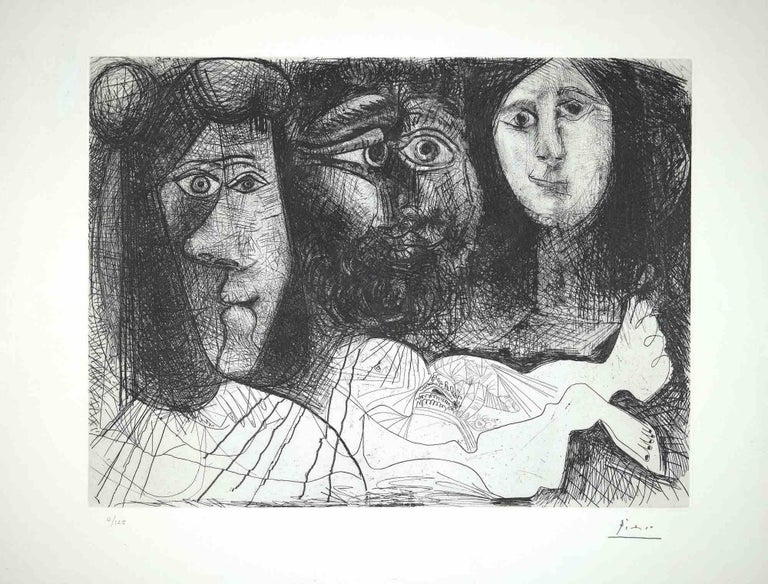 """Autoportrait, avec deux femmes, from """"The Fall of Icarus""""  Printed by Atelier Crommelynck, Paris Published by Albert Skira, Geneva in 1972. Original B/W etching on paper. Includes a frame: 69 x 3.5 x 84 cm.  Hand-signed by the artist on the lower"""