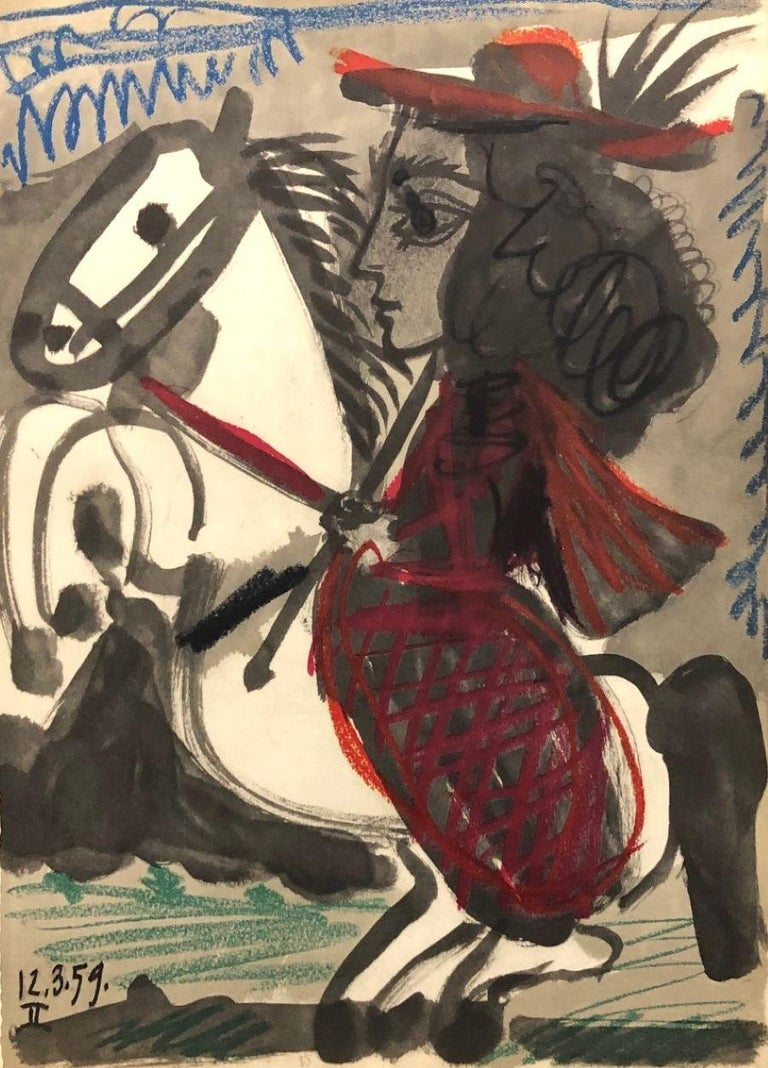 Pablo Picasso Portrait Print - Title Unknown (12.3.59)-from the Toros y Toreros suite