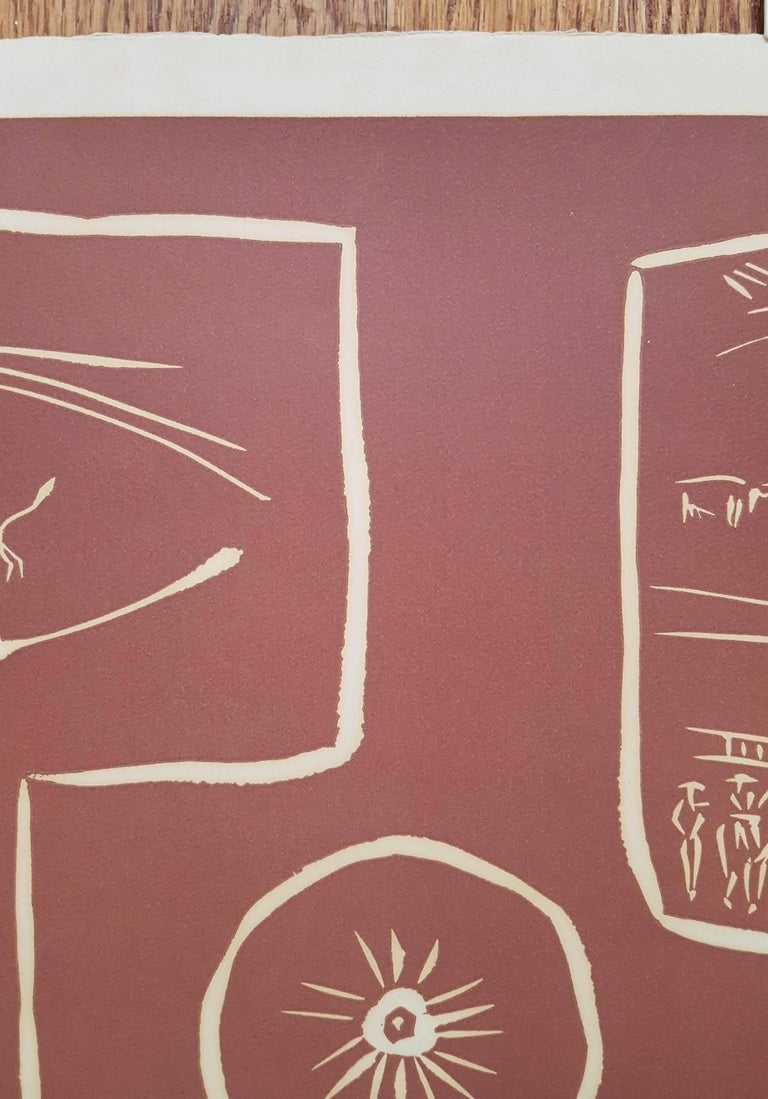 An original signed linocut on Arches deckle edged heavy wove paper by Spanish artist Pablo Picasso (1881-1973) titled