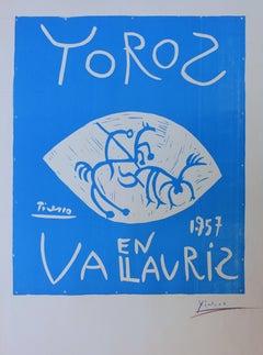 Toros en Vallauris - Original linocut, Handsigned (Bloch #1276)
