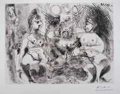 Tribute to Degas : Three Nudes - Original signed Etching - Limited to 50 copies