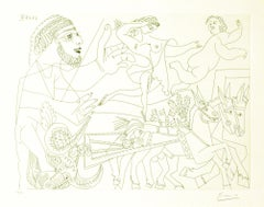 Untitled, 11.4.68.VI. - Original b/w Etching by Pablo Picasso - 1968