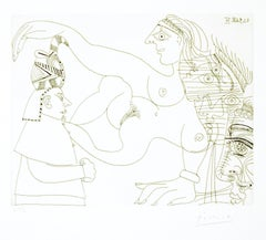 Untitled, 21.9.68.IV. - Original b/w Etching by Pablo Picasso - 1968