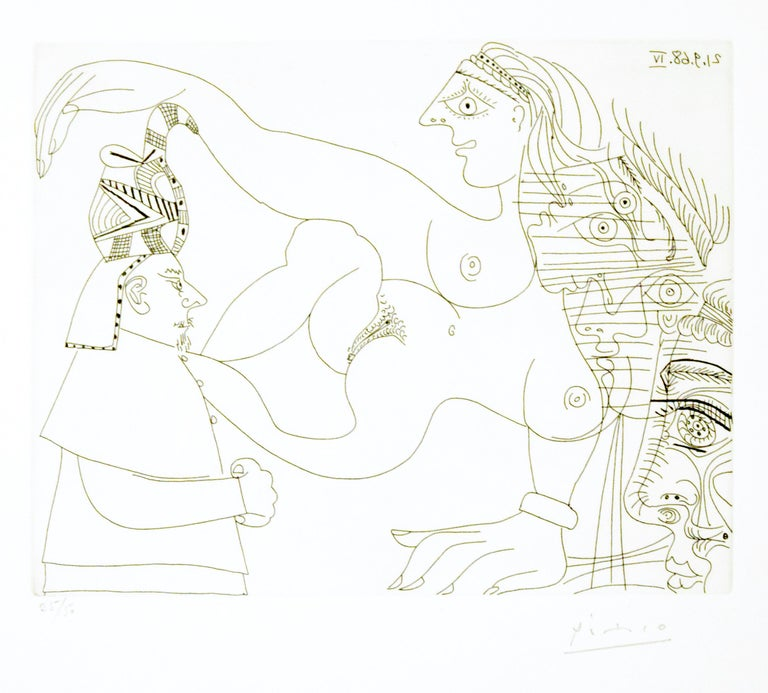 "Egyptien et femmes, plate 331 from ""Series 347"" is an amazing and precious b/w etching on paper realized in 1968 by Pablo Picasso. Signed in pencil, numbered out of 50 (there were also 17 artist's proofs), printed by Crommelynck, Paris, published by"