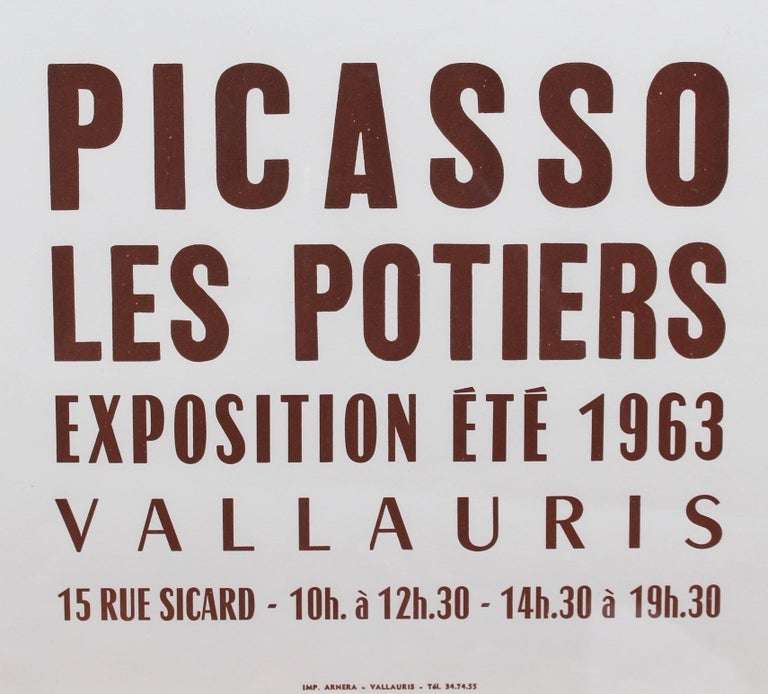 Vintage Vallauris Ceramics Poster by Pablo Picasso and Arnéra Printers (1963) For Sale 4