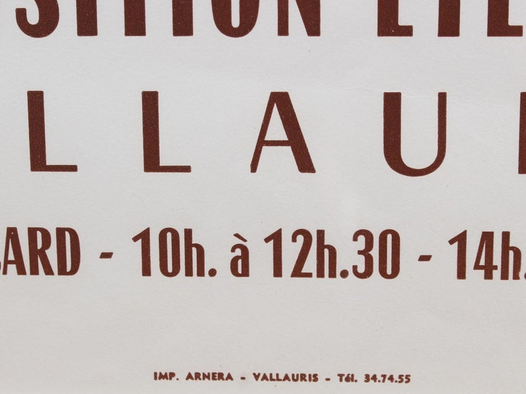 Vintage Vallauris Ceramics Poster by Pablo Picasso and Arnéra Printers (1963) For Sale 5