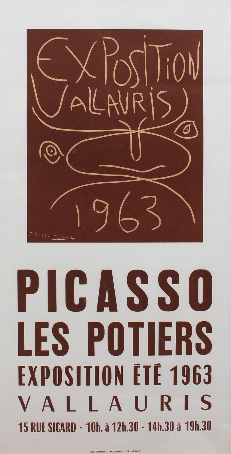 This is a vintage, limited edition offset framed poster announcing the Vallauris Ceramics exhibit in 1963, printed in a run of 2000 by Arnéra Printers under the supervision of Pablo Picasso.  In 1946, while visiting the annual pottery exhibition in