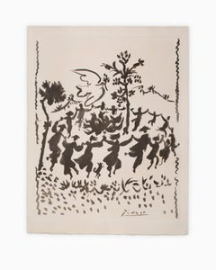 """Vive le Paix (Long Live Peace)"", Lithograph, Black on White, Dancing, Movement"