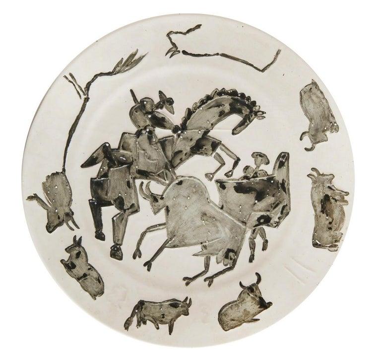 "Corrida, Pablo Picasso, 1950's, Ceramic, Earthenware, Decorative Art, Design  Ed. 200 pcs 11.03.1953 Earthenware clay, oxidized paraffin decoration, enamel bath. Stamped ""Madoura Plein Feu"" and ""Empreinte originale de Picasso"" on the back. Alain"