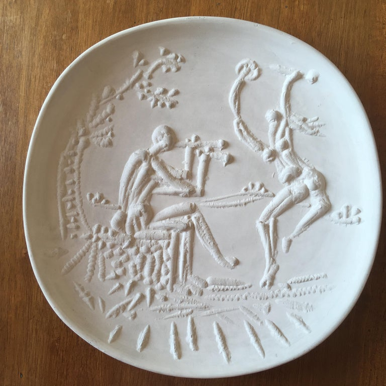 Ceramic by Pablo Picasso In the summer of 1946, Picasso stopped in the Madoura studio, directed by Suzanne Ramié and her husband Alain Ramié. Pablo Picasso takes the earth and creates some small sculptures, asking that it be cooked to him and
