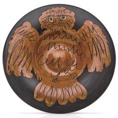Pablo Picasso Madoura Ceramic Plate, 'Hibou rouge sur fond noir ', Ramié 399
