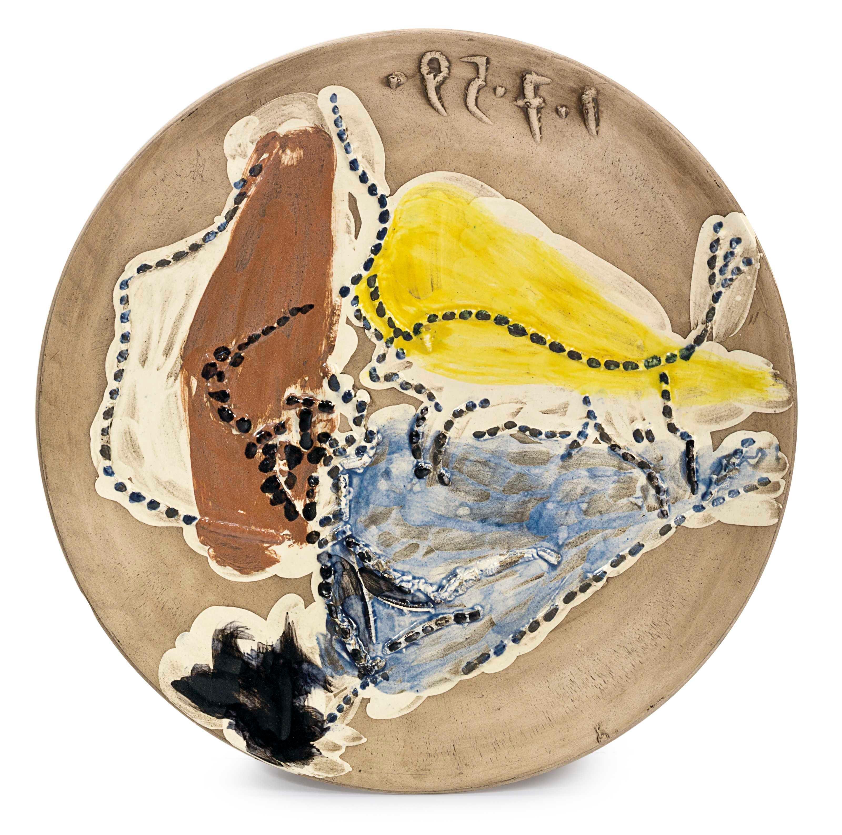 Madoura Ceramic Plate- Pase de Cape, Ramié 417