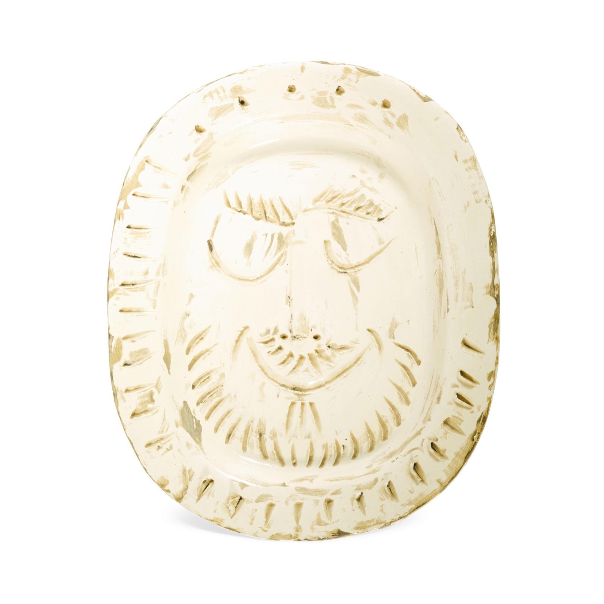 Madoura Ceramic Plate- Visage d'Homme, Ramié 287