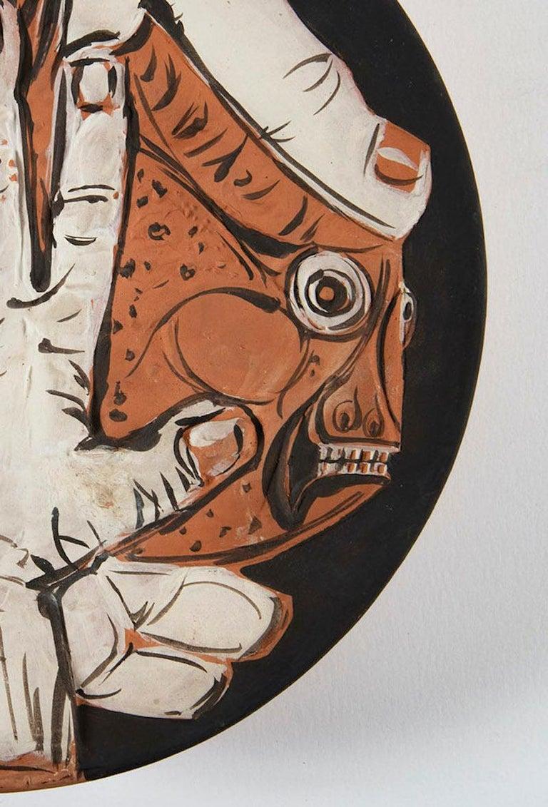 Mains au Poisson, Pablo Picasso, 1950's, Ceramic, Multiples, Design, Interior  Mains au Poisson Ed. 100 pcs 1953 Earthenware clay, deep engraving painted in engobes D. 32 cm Stamped on the reverse : Madoura Plein feu, Empreinte originale de