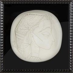 Pablo Picasso Ceramic Plate Profil de Jacqueline x/100 sculpture art rare