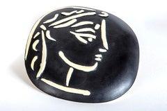 Pablo Picasso Ceramic Profil De Jacqueline 56 Ceramic Sculpture Art - AR 385