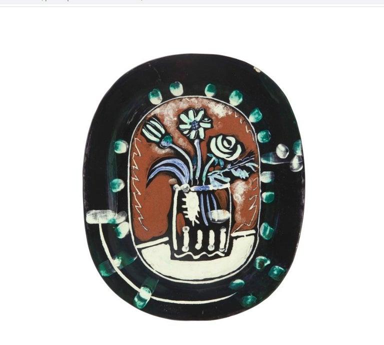 Pablo Picasso Madoura, Bouquet, Glazed ceramic plate, Ramie 254 - Sculpture by Pablo Picasso
