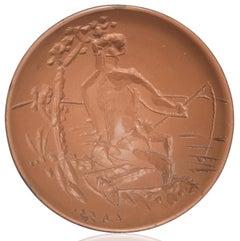Pablo Picasso Madoura Ceramic Bowl, 'Pêcheur à la ligne' AR 263