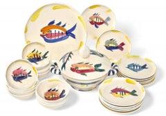 Pablo Picasso Madoura Ceramic Dish Set -Service Poisson, Ramié 3-28