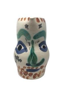 Pablo Picasso Madoura Ceramic Pitcher - Visage aux points, Ramié 610
