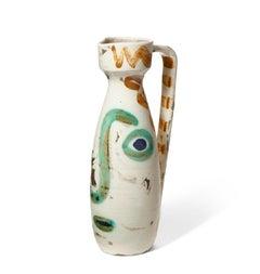 Pablo Picasso Madoura Ceramic Pitcher - 'Visage,' Ramié 611