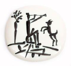 Pablo Picasso Madoura Ceramic Plaque 'Joueur de flûte et chèvre' Ramié 382