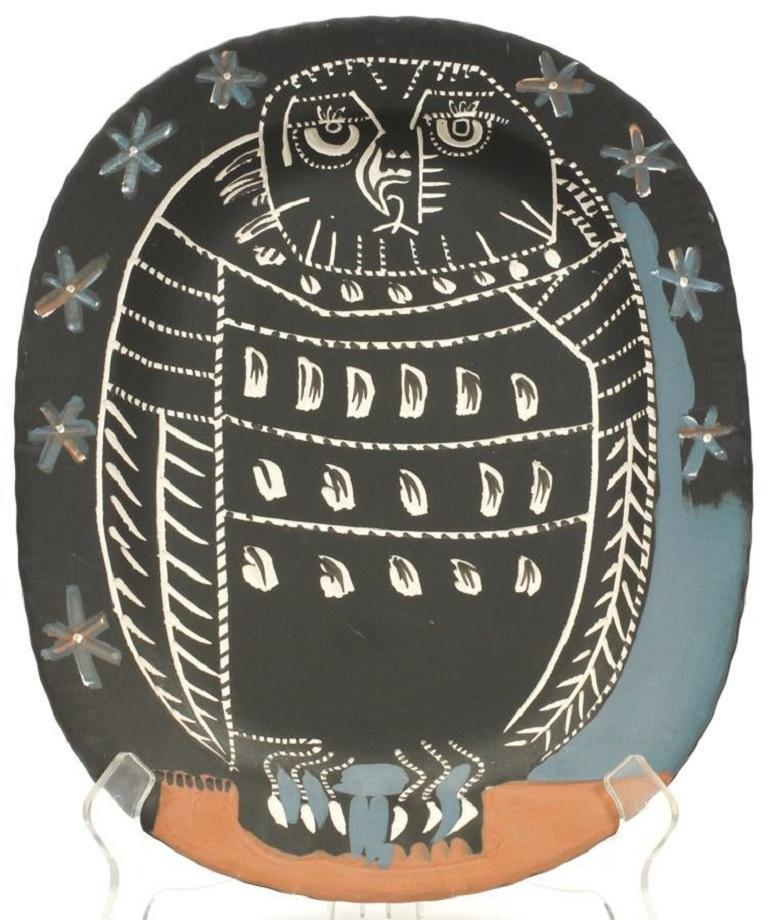 Pablo Picasso Madoura ceramic plate, 'Hibou Mat,' Ramié 284