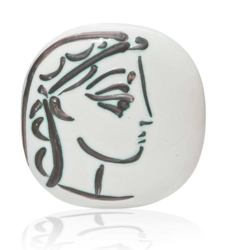 Pablo Picasso Madoura Ceramic Plate - Profil de Jacqueline, Ramié 383 - Sculpture by Pablo Picasso