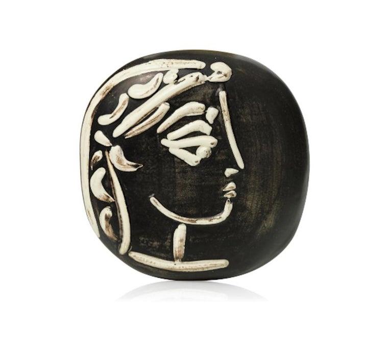 Pablo Picasso Madoura Ceramic Plate - Jacqueline's profile, Ramié 385 - Sculpture by Pablo Picasso