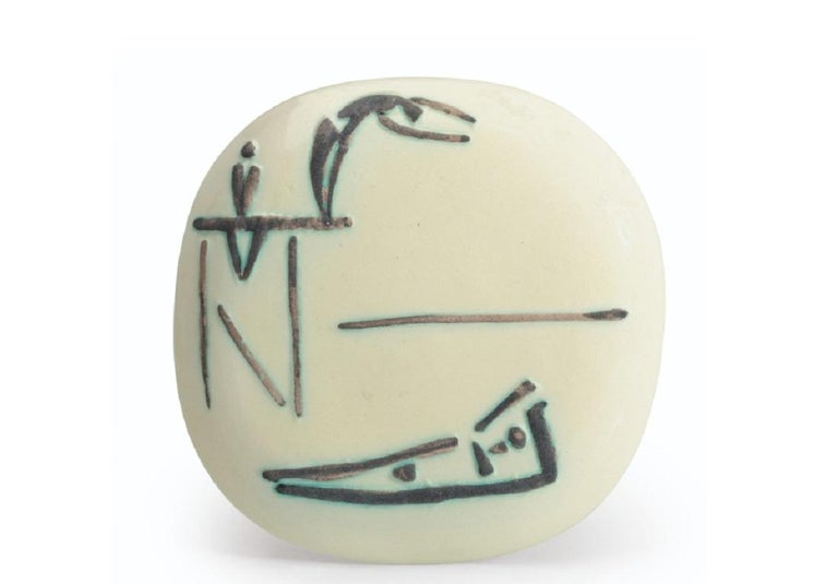Pablo Picasso Madoura Ceramic Plate -Plongeurs, Ramié 377 - Sculpture by Pablo Picasso