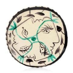 Pablo Picasso Madoura Ceramic Plate, 'Quatre profils enlacés' Ramié 87