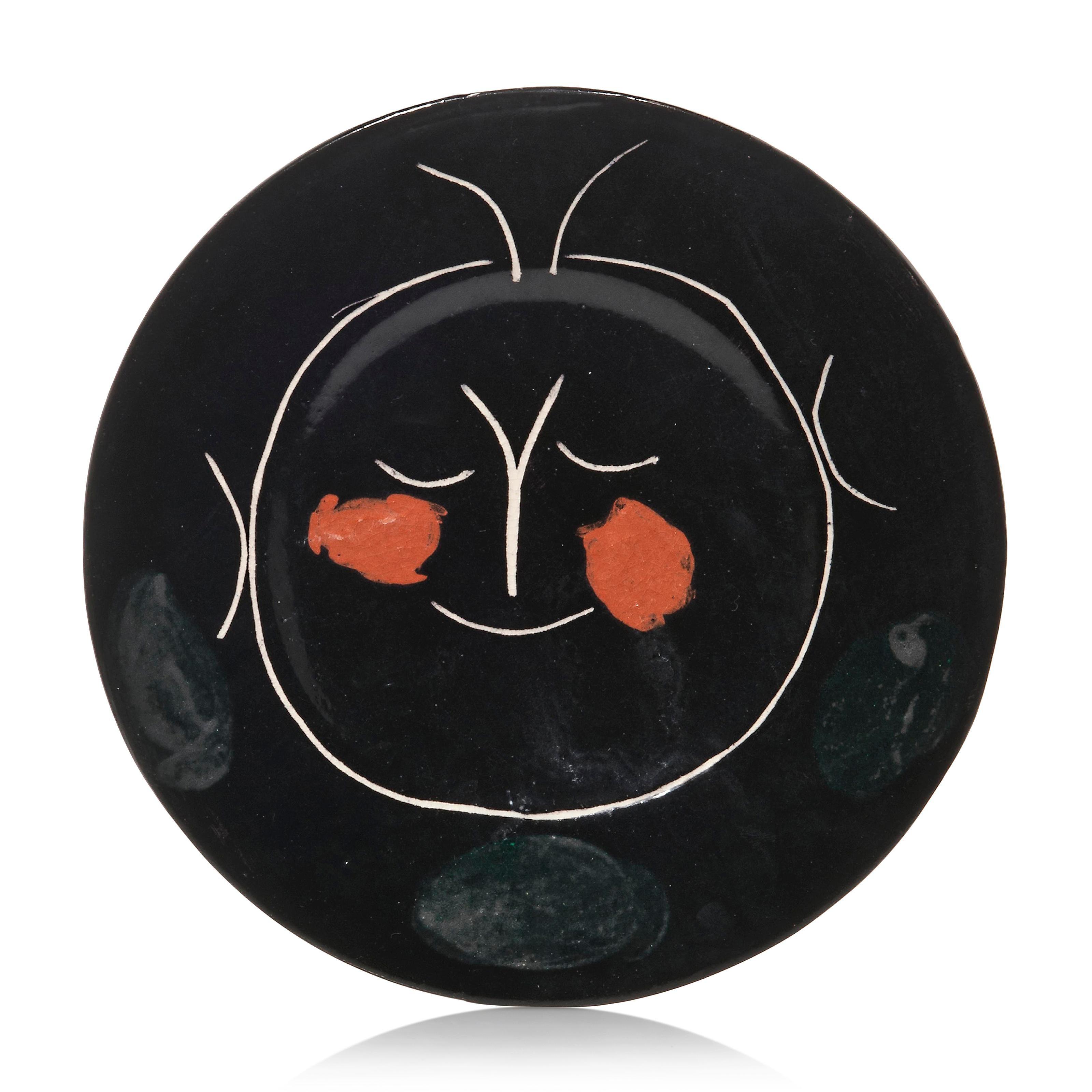 Pablo Picasso Madoura Ceramic Plate - Service Visage Noir, Ramié 36