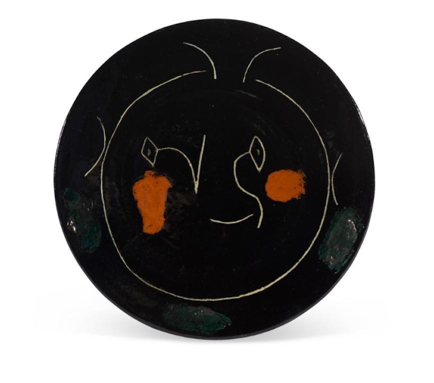 Pablo Picasso Madoura Ceramic Plate - Service Visage Noir, Ramié 37