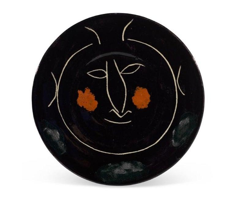 Pablo Picasso Madoura Ceramic Plate - Service Visage Noir, Ramié 43 - Sculpture by Pablo Picasso