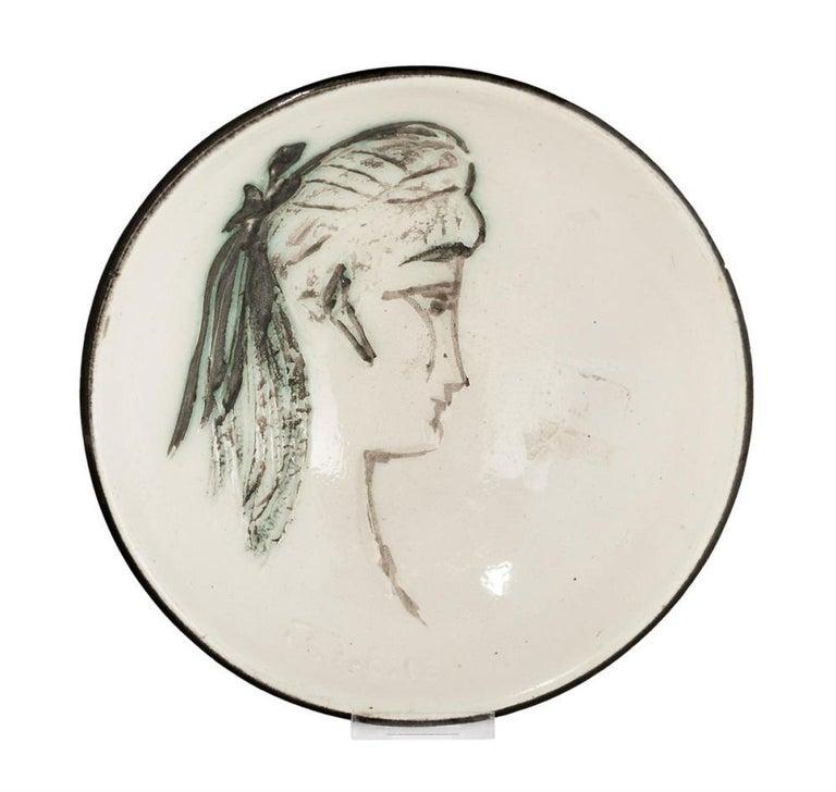 Pablo Picasso Madoura Ceramic Plate 'Sylvette' Ramié 266 - Sculpture by Pablo Picasso