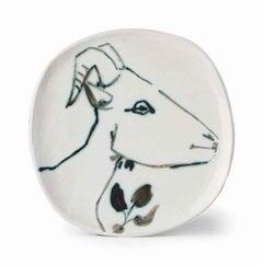 Pablo Picasso Madoura Ceramic Plate - Tête de chèvre de profil, Ramié 106