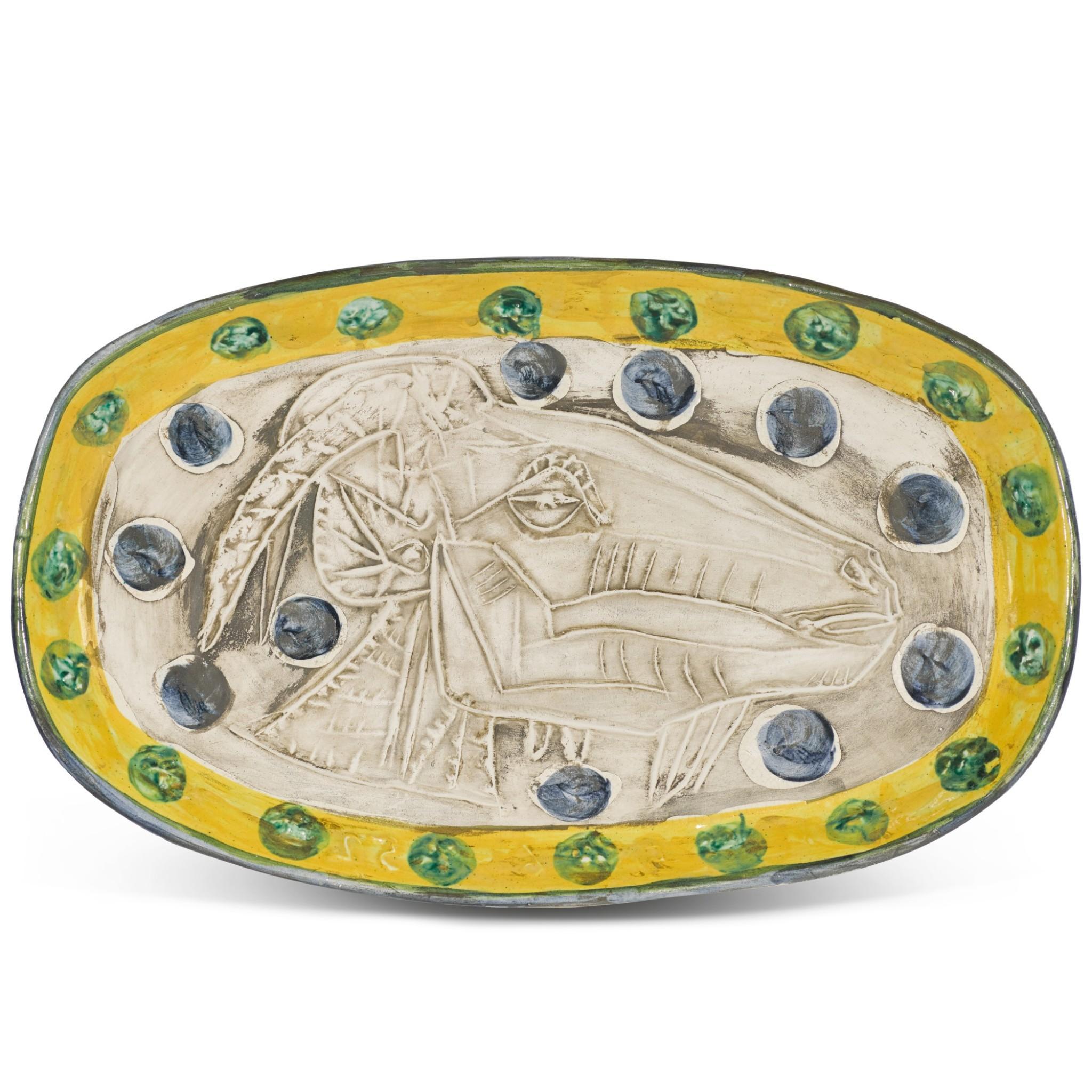 Pablo Picasso Madoura Ceramic Plate, 'Tête de chèvre de profil' Ramié 148