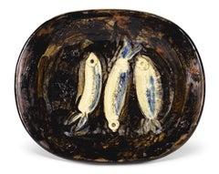 Pablo Picasso Madoura Ceramic Plate, 'Trois Sardines' Ramié 34