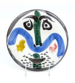 Pablo Picasso Madoura Ceramic Plate 'Visage no. 130' Ramié 479