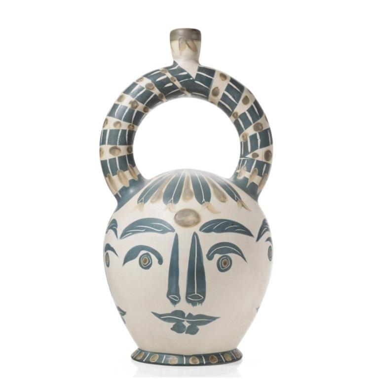 Pablo Picasso Madoura Ceramic Vessel 'Vase aztèque aux quatre visage' Ramié 402 - Sculpture by Pablo Picasso