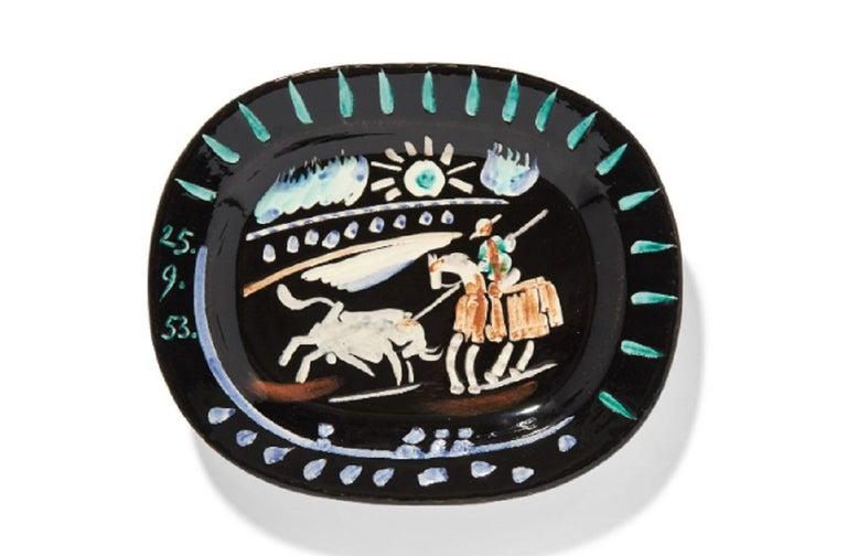 Pablo Picasso Madoura, Corrida soleil , Glazed ceramic plate, Ramie 199 - Sculpture by Pablo Picasso