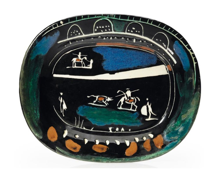 Pablo Picasso Madoura, Corrida verte, Glazed ceramic plate, Ramie 81 - Sculpture by Pablo Picasso