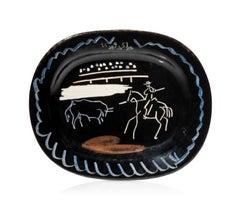 Pablo Picasso Madoura glazed ceramic plate, Corrida sur fond noir, Ramie 198