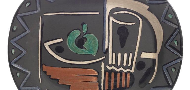 Pablo Picasso Madoura, Nature Morte, Glazed ceramic plate, Ramie 219 - Abstract Impressionist Sculpture by Pablo Picasso