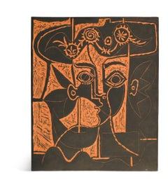 Pablo Picasso Madoura Plaque, 'Grand tête de femme au chapeau orné' Ramié 518