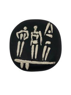 Picasso Madoura Ceramic Plate Trois personnages sur tremplin, Ramié 374