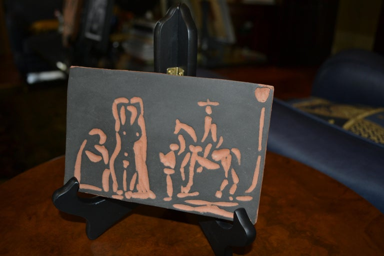 Picasso Madoura Ceramic Ramie 540 Figures and Cavalier - Black Abstract Print by Pablo Picasso
